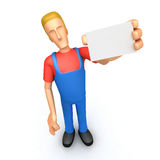 Mechanic with blank business card Stock Photography