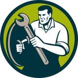Mechanic Brandishing Spanner Wrench Circle Retro Stock Photos
