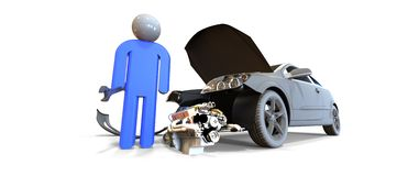 Mechanic with a broken  car concept Royalty Free Stock Photos