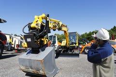 Mechanic and bulldozers Stock Photos