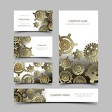Mechanic business cards set Stock Photo
