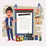 Mechanic. Car Check Up, Repair, Maintenance. character design - Stock Photography