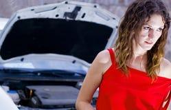 Mechanic car help. Woman waits mechanic car help Royalty Free Stock Photography