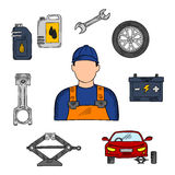 Mechanic and car service icons Royalty Free Stock Photography