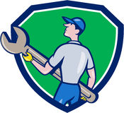 Mechanic Carrying Giant Spanner Crest Cartoon Royalty Free Stock Images