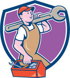 Mechanic Carrying Spanner Toolbox Crest Cartoon Stock Photography