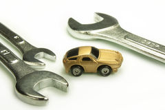 Mechanic of cars. Representation of certain work tools of mechanic stock photography