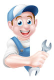 Mechanic Cartoon Plumber Man Stock Image