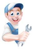 Mechanic Cartoon Plumber Man Stock Image