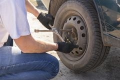 Mechanic changing wheel on car with a wrench. Mechanic changing wheel on car with a wrench Royalty Free Stock Images
