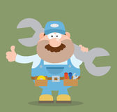 Mechanic Character Holding Huge Wrench And Giving A Thumb Up Flat Syle Royalty Free Stock Images