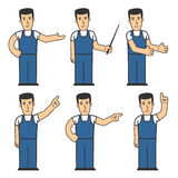 Mechanic character set 03. Set of mechanic character in different poses Royalty Free Stock Images