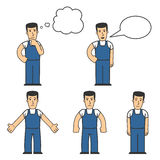 Mechanic character set 04. Set of mechanic character in different poses Stock Image