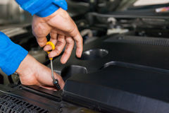 Mechanic checking car's oil level in a car service garage Stock Image