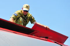 Mechanic checking General Dynamics F-111 Royalty Free Stock Image