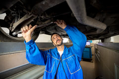 A mechanic is checking the technical state Royalty Free Stock Images