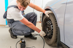 Mechanic checks the degree of wheel pump Royalty Free Stock Images