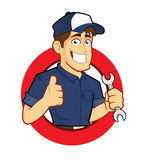 Mechanic with Circle Shape. Clipart picture of a mechanic cartoon character with circle shape Stock Photography
