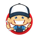 Mechanic with circle shape. Clipart picture of a mechanic cartoon character with circle shape vector illustration
