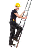 Mechanic climbing a ladder. Royalty Free Stock Image