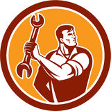 Mechanic Clinching Spanner Wrench Circle Retro Royalty Free Stock Photo