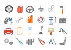 Mechanic colorful icons set. Set of 24 Mechanic colorful icons Stock Photos
