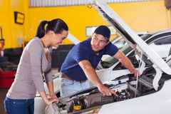 Mechanic customer car Royalty Free Stock Image
