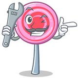 Mechanic cute lollipop character cartoon. Vector illustration Stock Photography