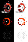 Mechanic 3D logo evolution. Orange mechanic 3D logo evolution — Stock Vector Royalty Free Stock Photos