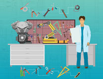Mechanic developer in science and technology laboratory. Scientist workplace idea concept Stock Photo