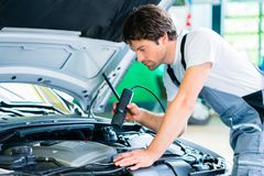Mechanic with diagnostic tool in car workshop. Mechanic man with diagnostic tool in car workshop stock images