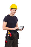 Mechanic with a digital tablet Royalty Free Stock Images