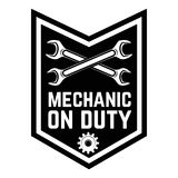 Mechanic on duty. Emblem template with crossed wrenches.Car repair. Design element for logo, label, emblem, sign. Vector illustration Stock Images
