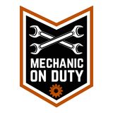 Mechanic on duty. Emblem template with crossed wrenches.Car repair. Design element for logo, label, emblem, sign. Vector illustration Stock Photo
