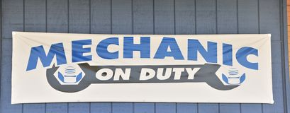 Mechanic on Duty Sign Royalty Free Stock Photography
