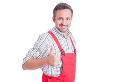 Mechanic or electrician showing like or thumb-up gesture Stock Photos
