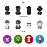 Mechanic, entertainer, cook, fireman.Profession set collection icons in black, flat, monochrome style vector symbol. Stock illustration Royalty Free Stock Images