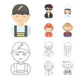 Mechanic, entertainer, cook, fireman.Profession set collection icons in cartoon,outline style vector symbol stock. Illustration Stock Images