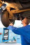 Mechanic examining under the car Royalty Free Stock Photos