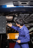 Mechanic Examining Underneath Car. Mechanic examining underneath lifted car at auto repair shop stock photography