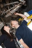 Mechanic with Female Customer Royalty Free Stock Photos