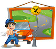 Mechanic fixing car on the road Royalty Free Stock Photo