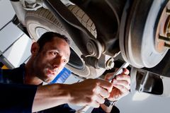 Mechanic in a garage Royalty Free Stock Images