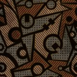 Mechanic geometric seamless pattern with rust effect Royalty Free Stock Photos