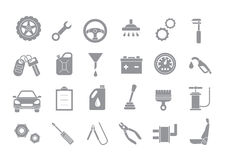 Mechanic gray vector icons set. Set of 24 Mechanic gray vector icons Stock Image