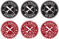 Mechanic Handyman Service Stamps Stock Images