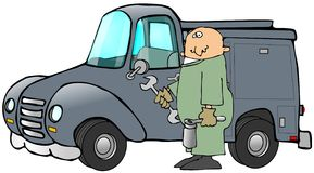 Mechanic And His Truck Royalty Free Stock Photos