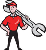 Mechanic Hold Spanner On Shoulder Cartoon Stock Images