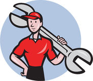 Mechanic Hold Spanner On Shoulder Circle Cartoon Stock Photo