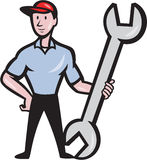 Mechanic Hold Spanner Wrench Cartoon Stock Image